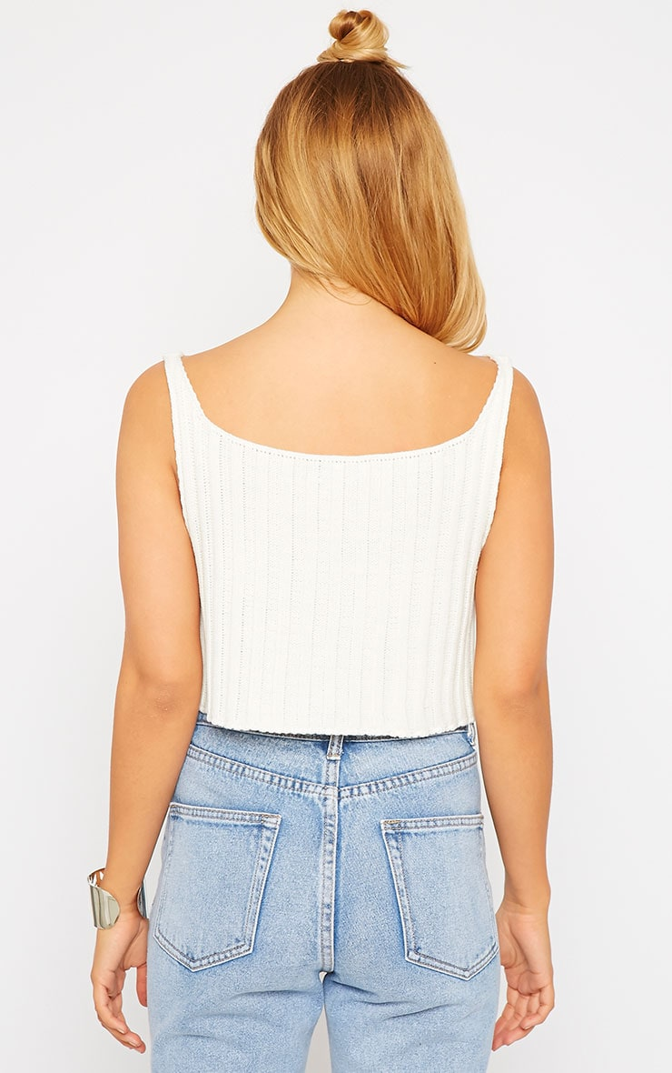 Susy Cream Knitted Cropped Vest Top 2