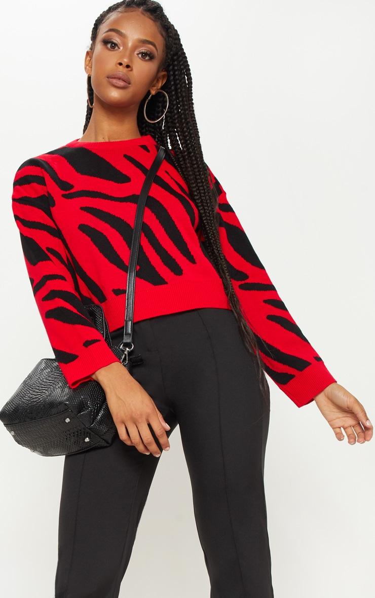 Red Zebra Cropped Jumper
