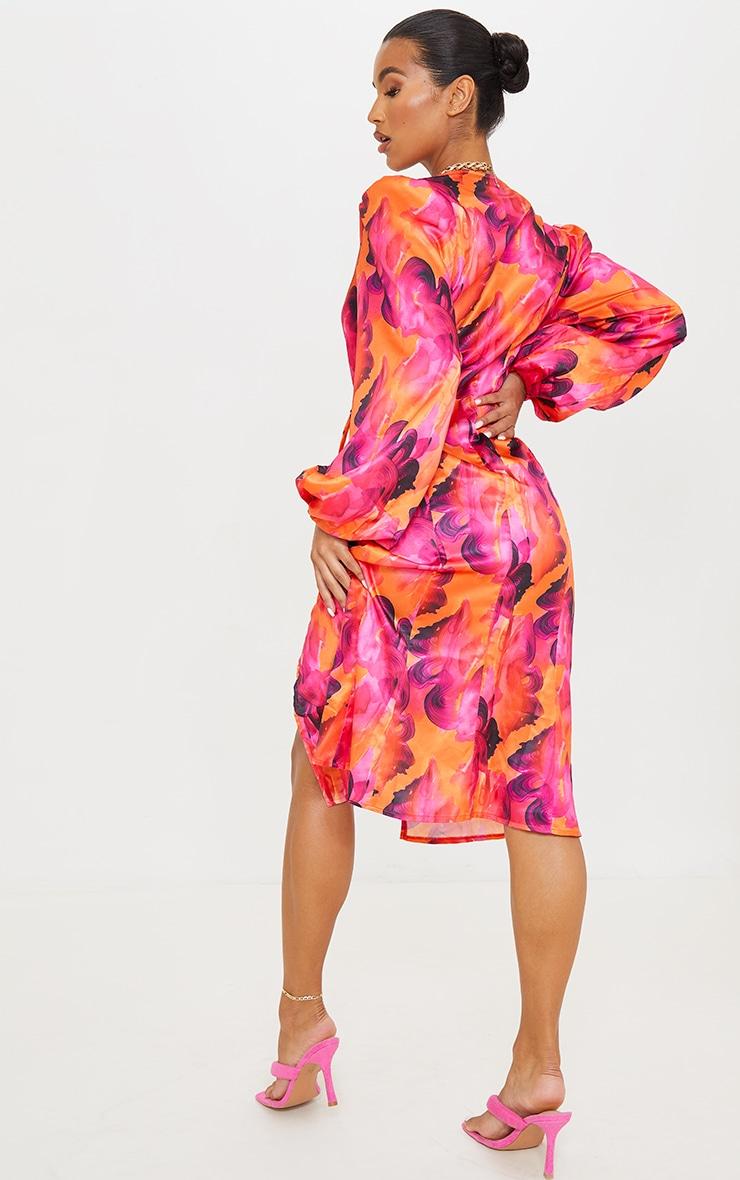Orange Abstract Print Satin Balloon Sleeve Wrap Midi Dress 2