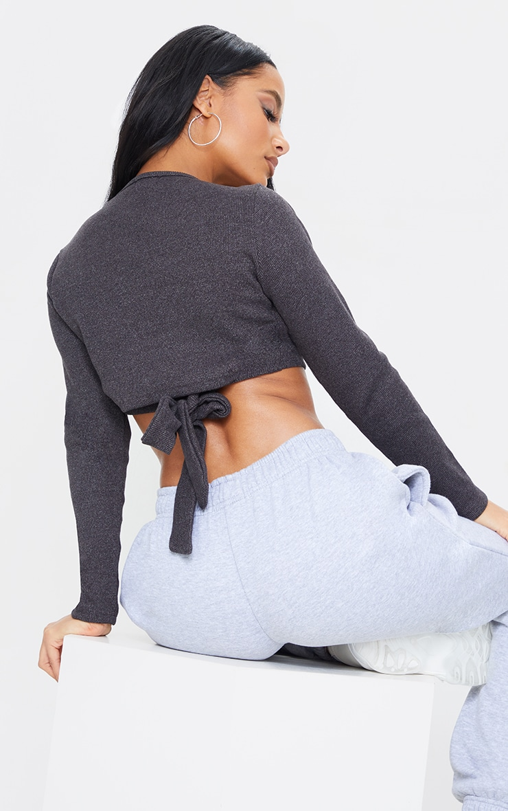 Charcoal Marl Rib Tie Back Long Sleeve Crop Top 1
