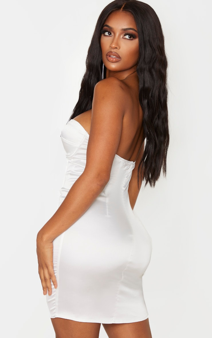 Shape White Satin Cup Detail Binded Bodycon Dress 2