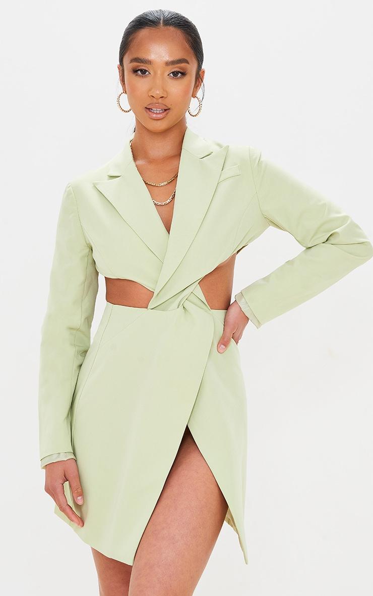 Petite Sage Green Twist Front Cut Out Blazer Dress 1