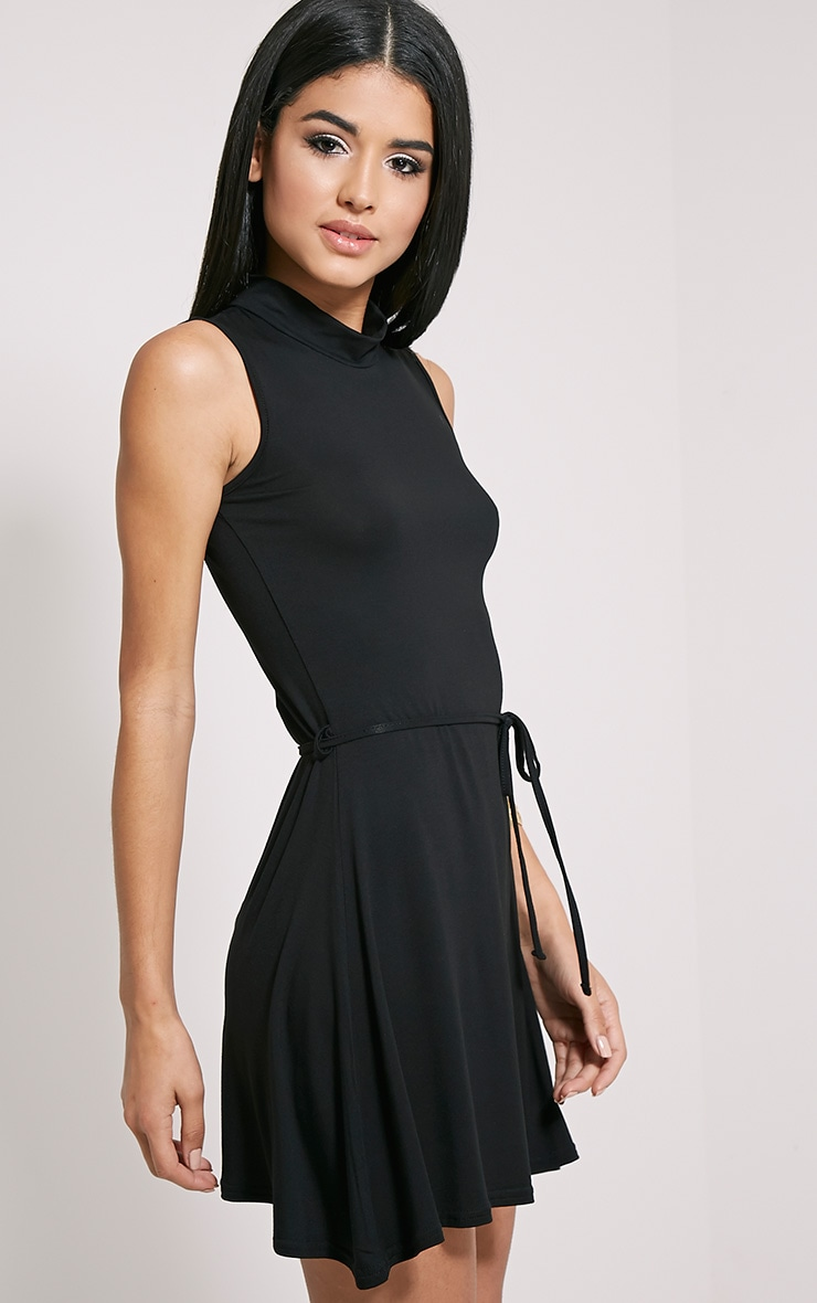 Marlie Black High Neck Belted Skater Dress 4