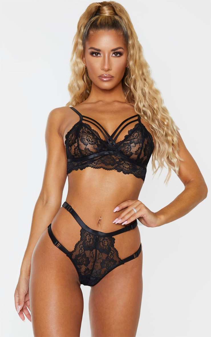 Black All Over Lace Harness Bralette 1