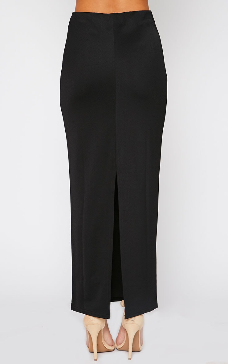 Zafia Black Crepe Split Maxi Skirt 2