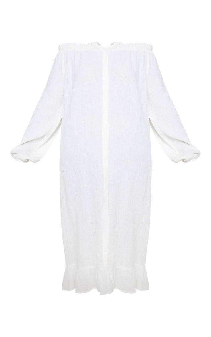 Plus White Bardot Frill Hem Maxi Dress 3