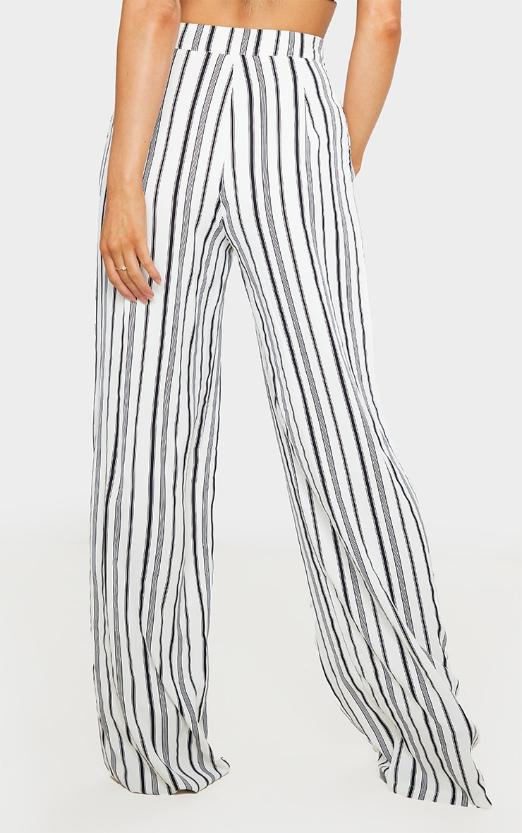 White Stripe Print Wide Leg Pants 4