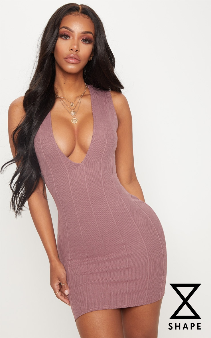 Shape Mauve Bandage Plunge Bodycon Dress 1