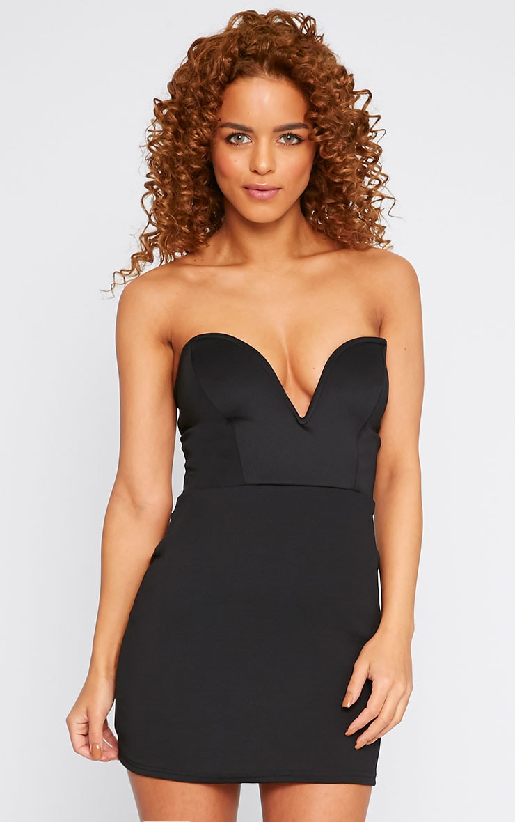 Yelina Black Structured Plunge Dress 1