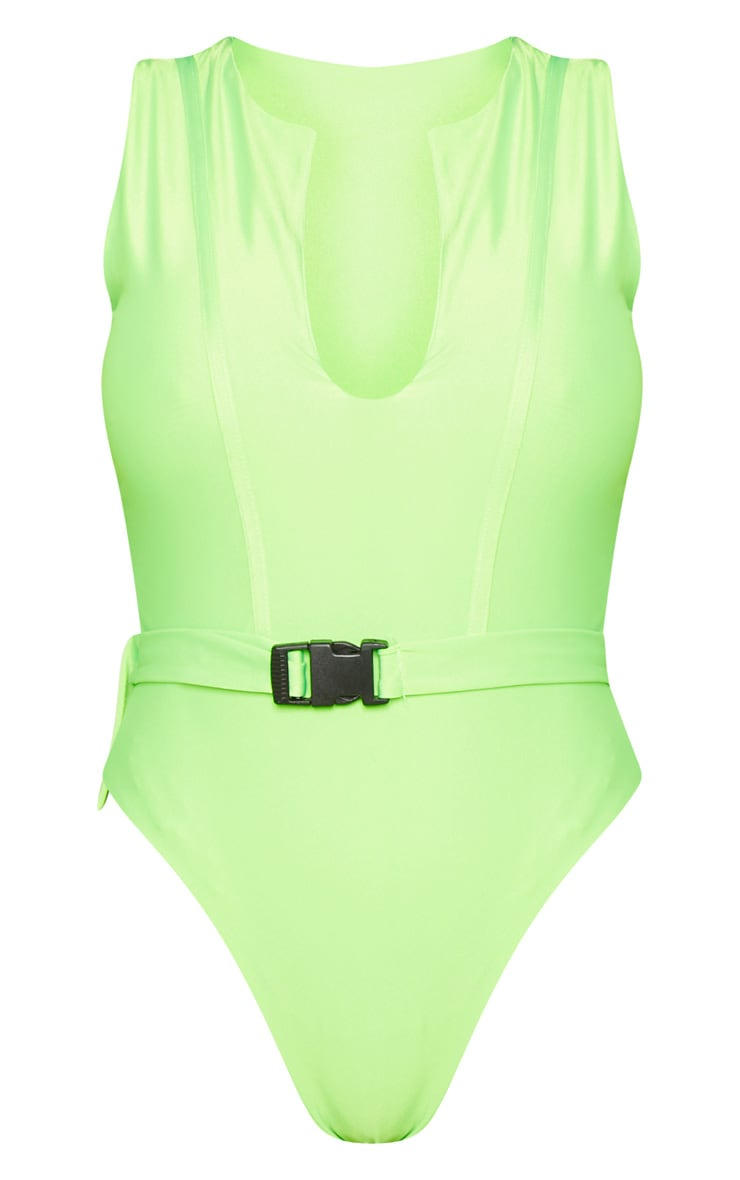 Shape Neon Lime V Neck Buckle Waist Swimsuit 7