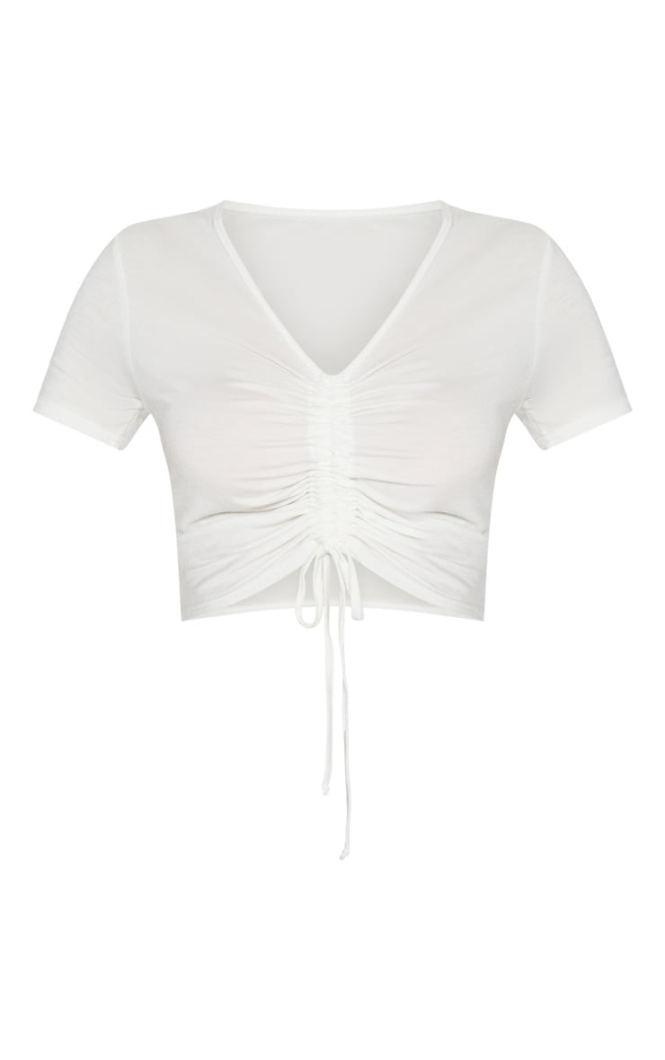 Cream Jersey Ruched Front Crop T Shirt 3