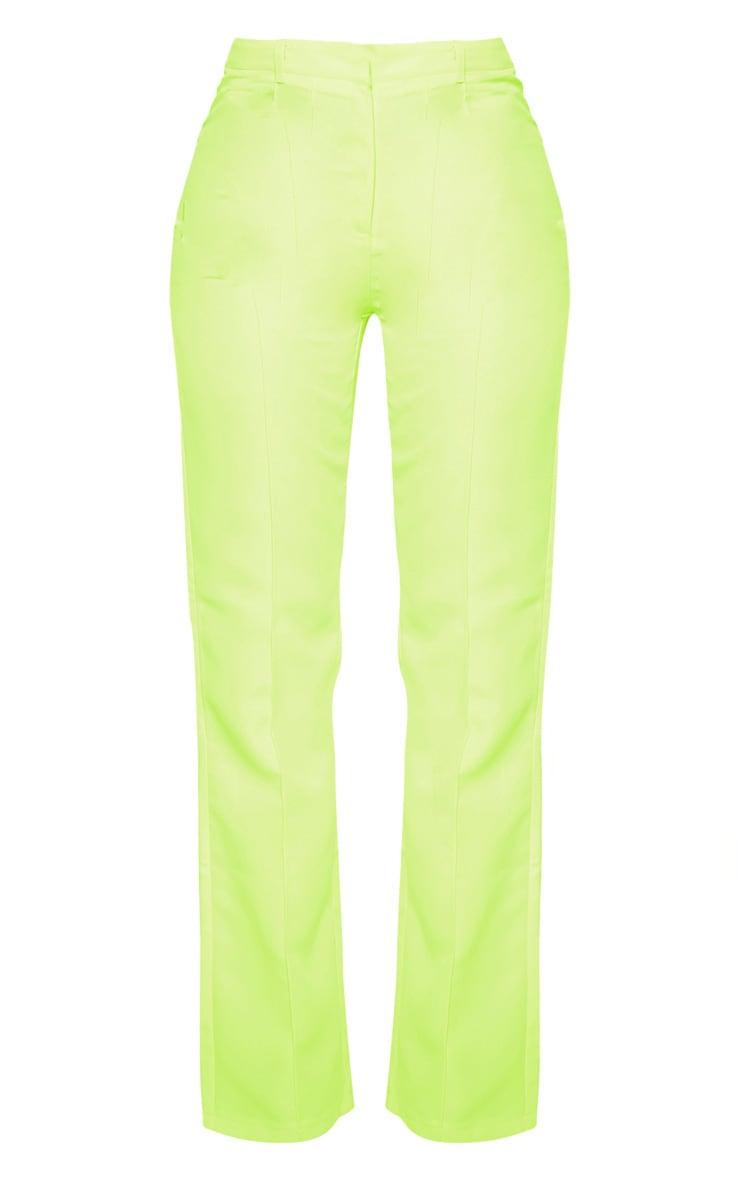 Neon Yellow Anala High Waisted Straight Leg Pants 3