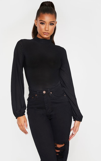 Black Rib High Neck Puff Sleeve Bodysuit