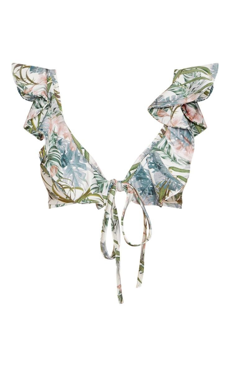 Pale Khaki Leafy Frill Tie Front Bikini Top 8