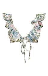 Pale Khaki Leafy Frill Tie Front Bikini Top 1