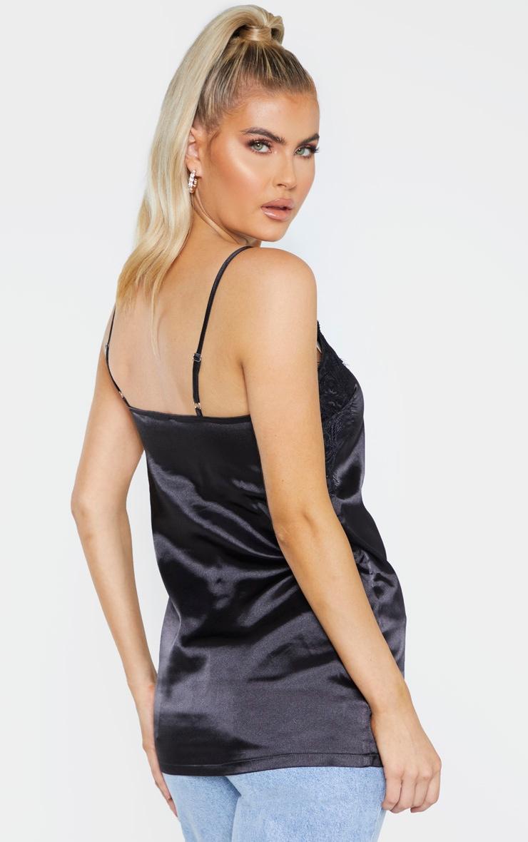 Tall Black Satin Lace Trim Cami Top 2