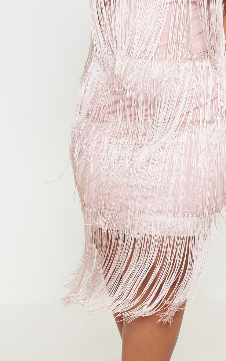 Plus Dusty Pink Strappy Tassel Midi Dress  5