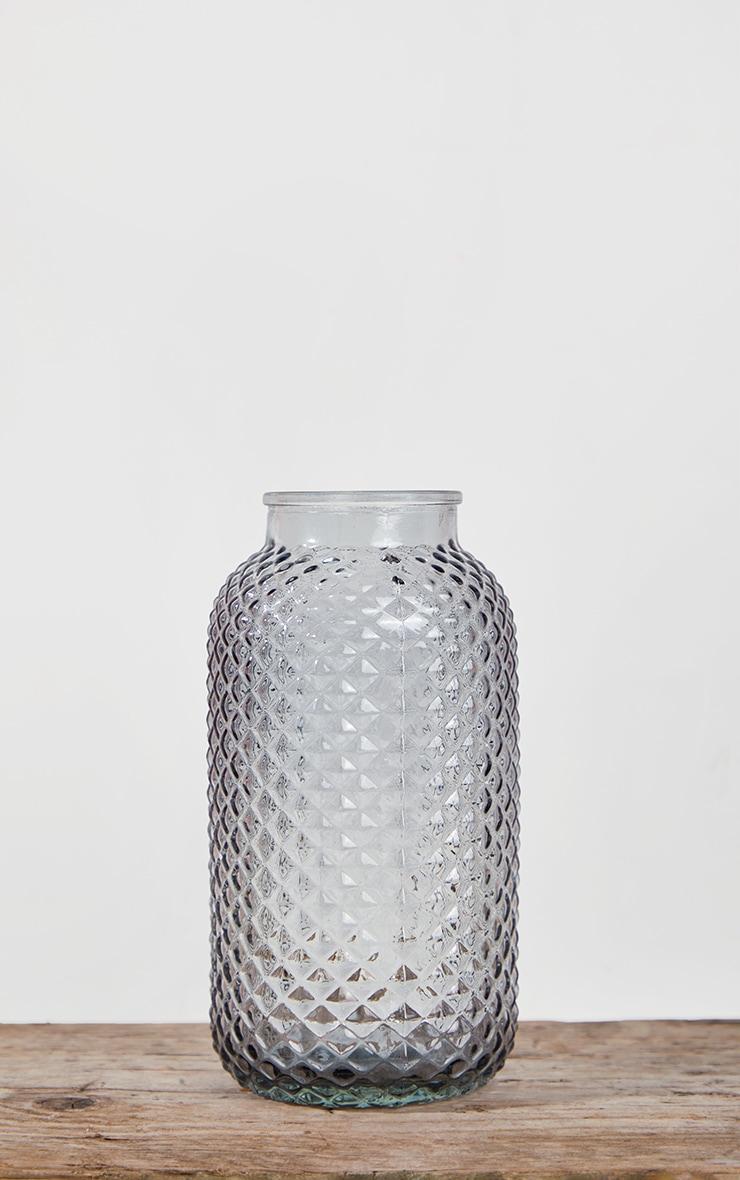 Grey Diamond Textured Tube Vase 4