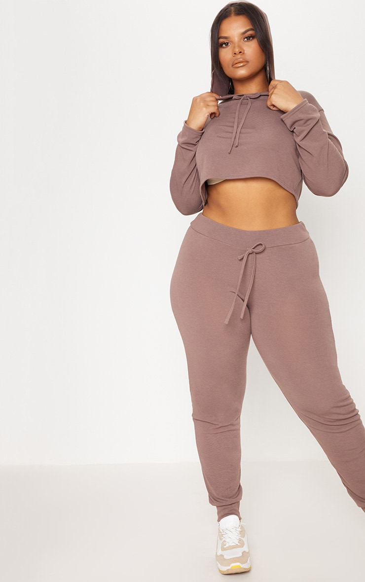 Plus Chocolate Knitted Cropped Hoodie 4