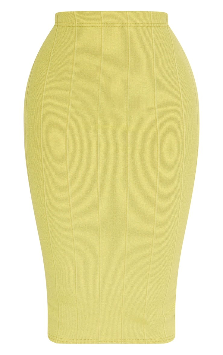 Shape Lime Ribbed Bandage Midi Skirt 3