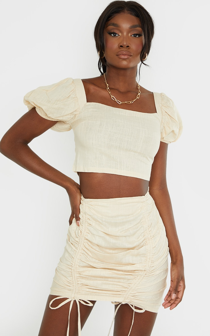 Tall Stone Puff Shoulder Cropped Blouse 1