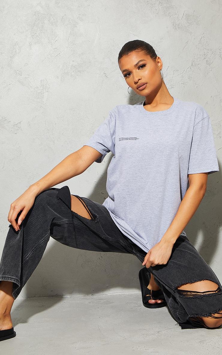 Grey Marl Future Is Bright Small Print Text Short Sleeve T Shirt 3