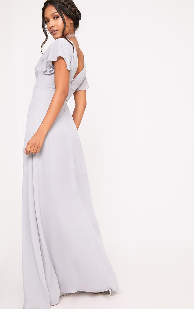 Janeen Ice Grey Plunge Maxi Dress 2