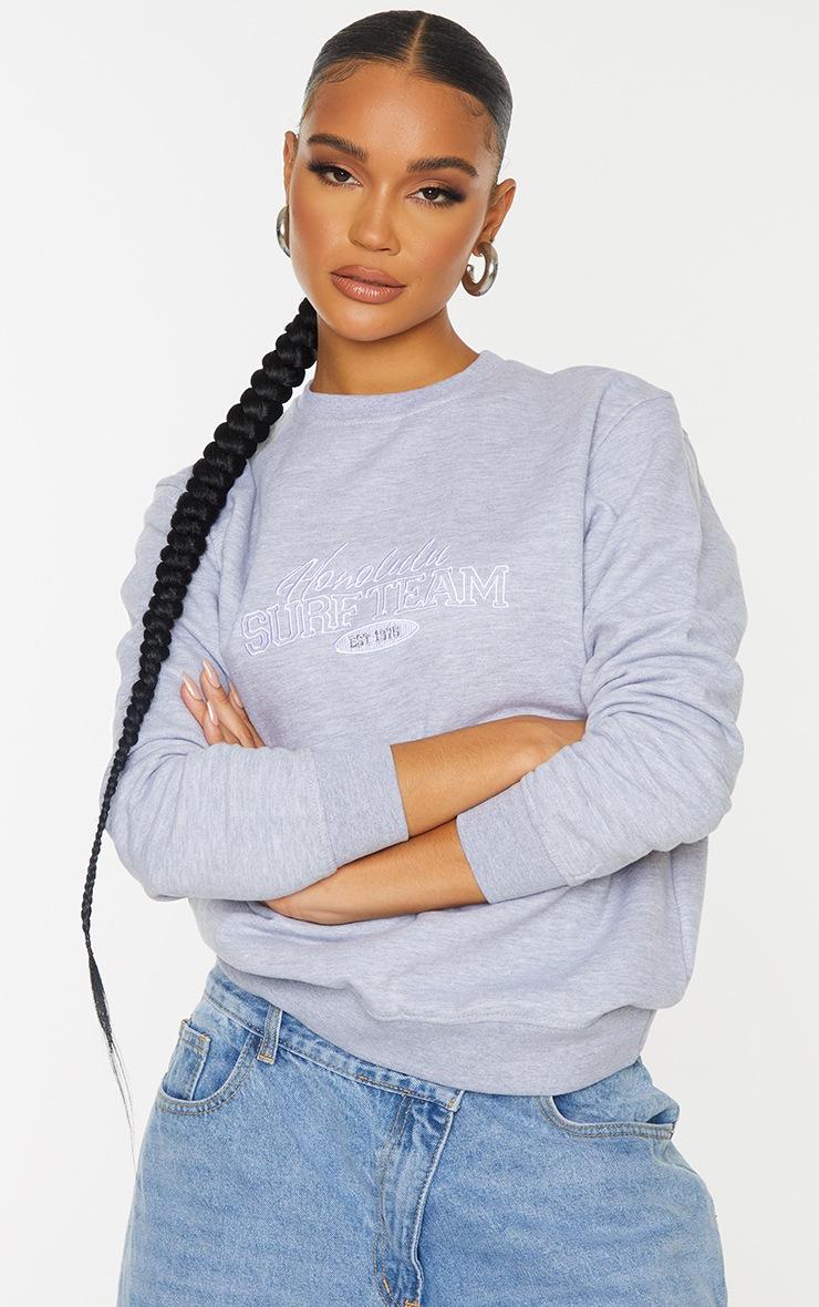 Grey Honolulu Surf Embroidered Sweatshirt 1