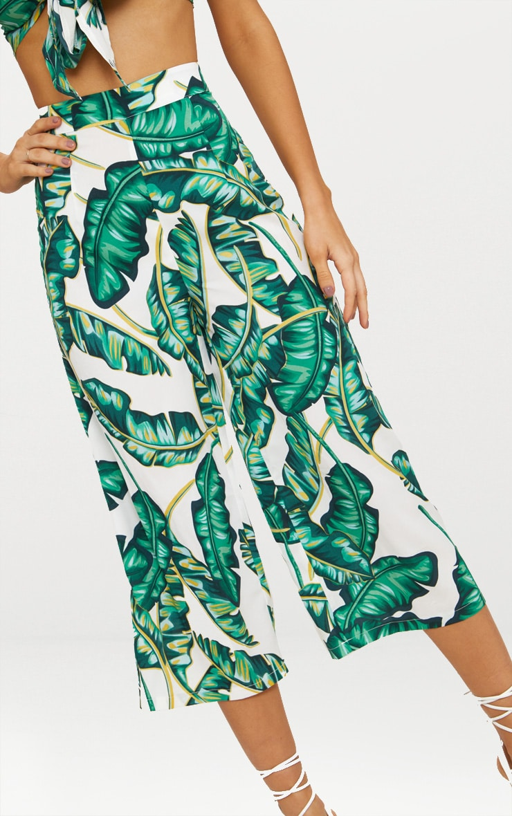 White Palm Print Culottes 4
