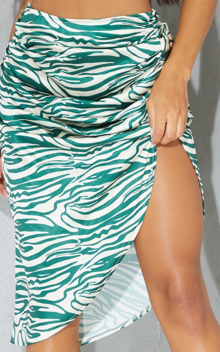 Green Zebra Printed Satin Ruched Detail Midi Skirt 4