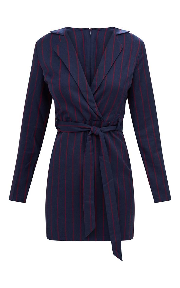 Navy Tie Waist Striped Blazer Dress 3
