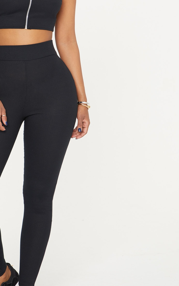 Shape Black Ribbed Leggings 5