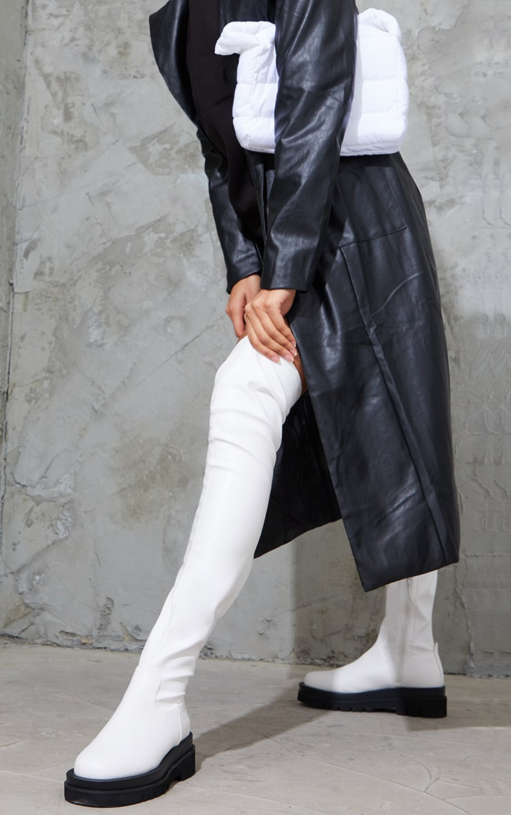 White Double Sole Over The Knee Boots