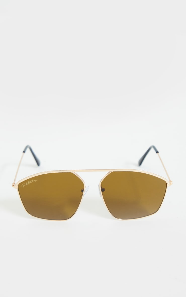 PRETTYLITTLETHING Gold Brown Bar Aviator Sunglasses 2