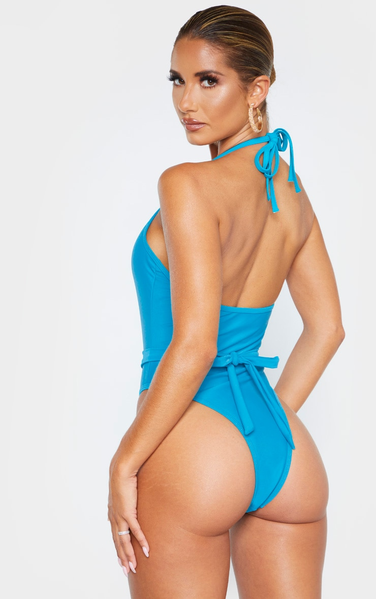 Turquoise Diamante Twist Trim Belted Swimsuit 2