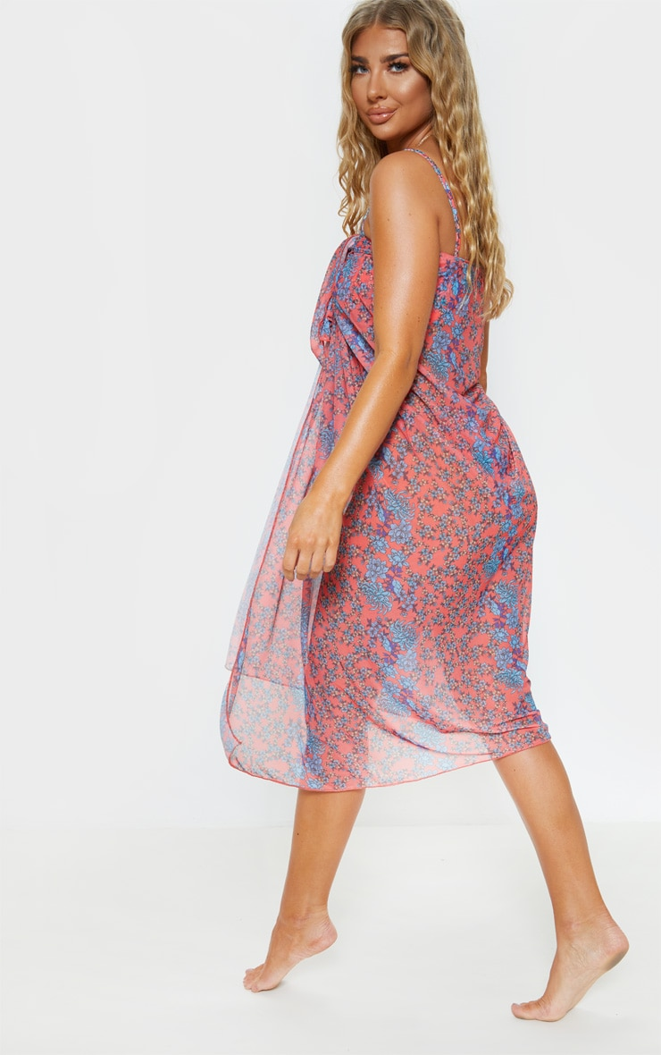Floral Print Multi Way Beach Cover Up  2