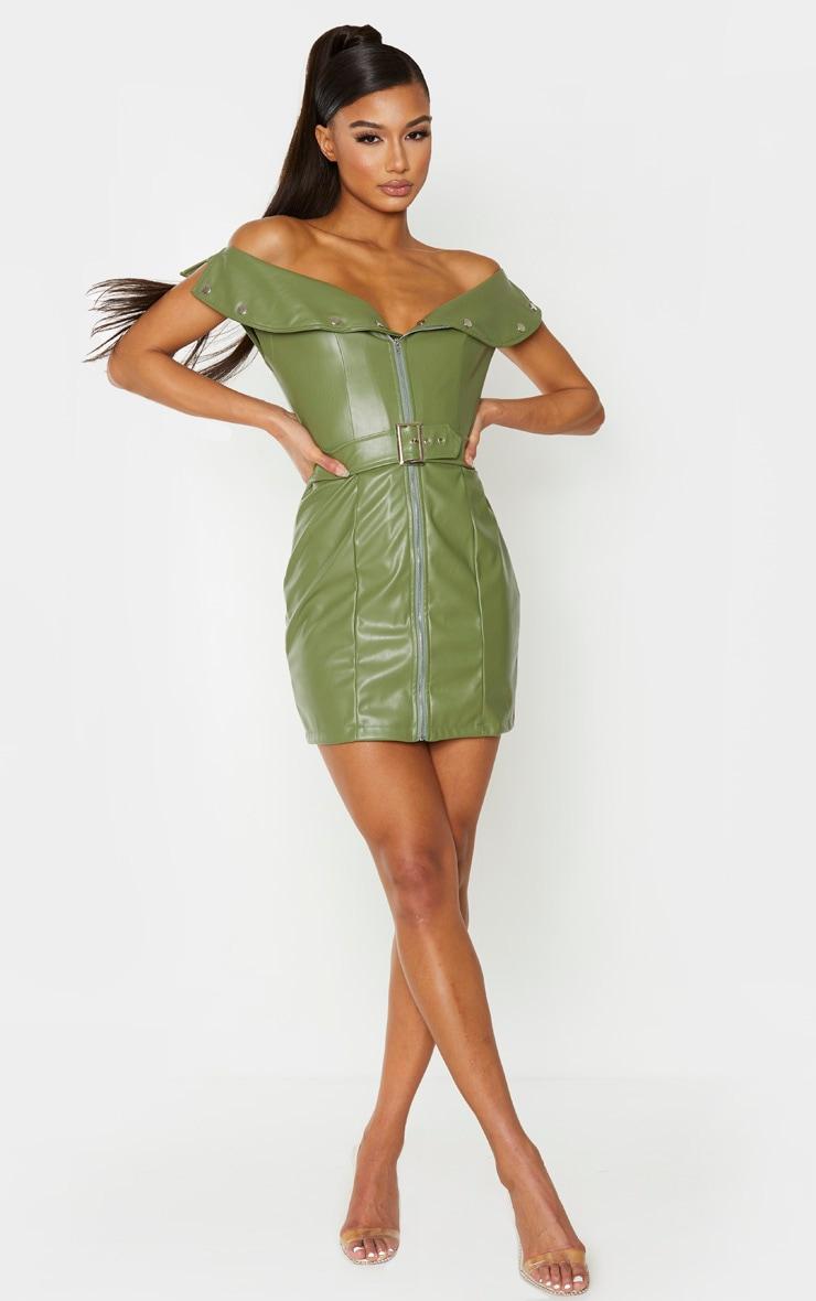 Khaki Faux Leather Bardot Waist Belt Bodycon Dress