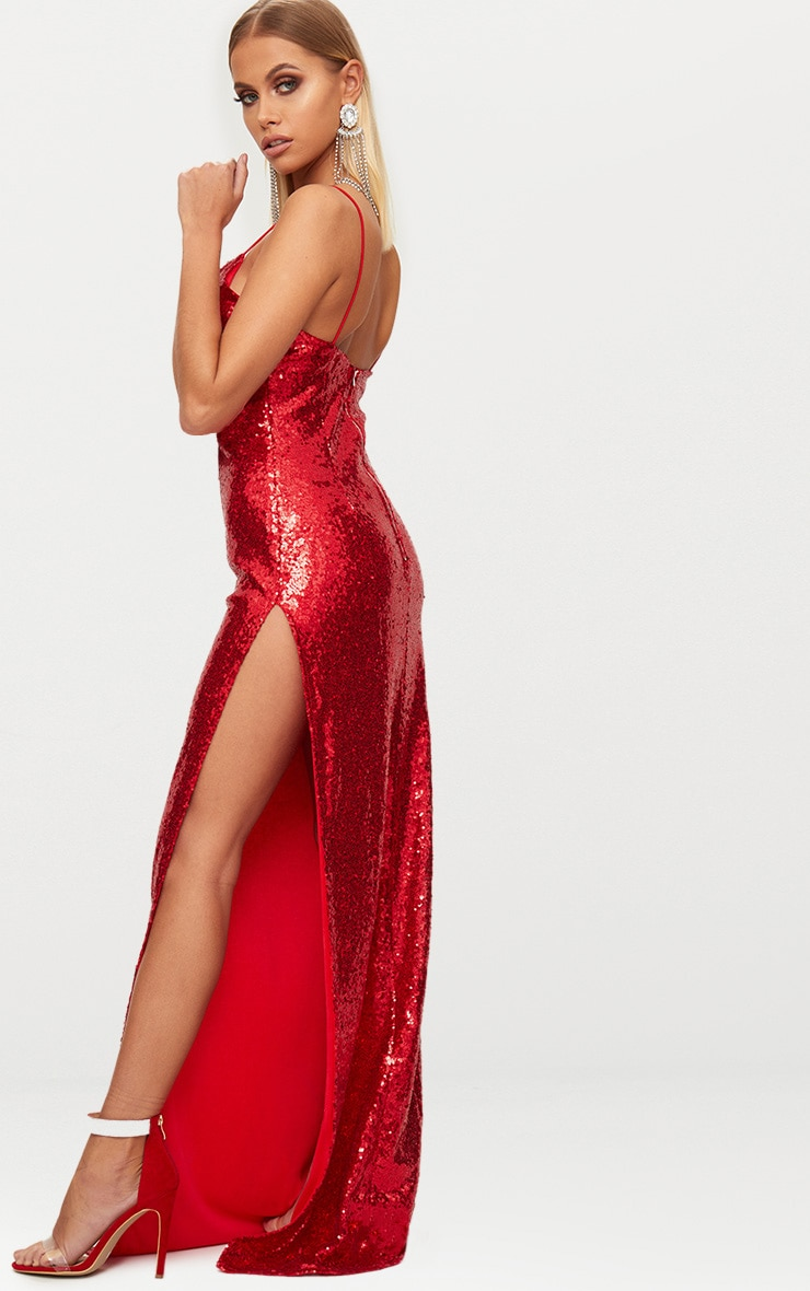 Red Sequin Extreme Split Plunge Maxi Dress 3