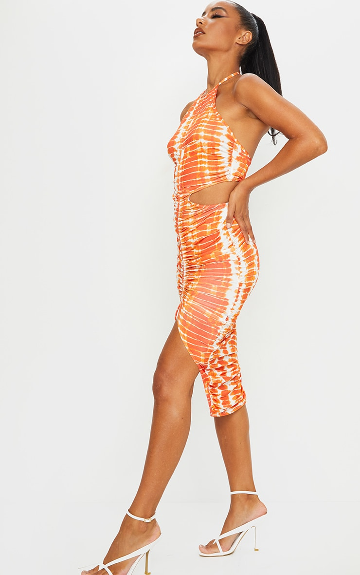 Orange Tie Dye Slinky Halterneck Cut Out Ruched Midi Dress 3