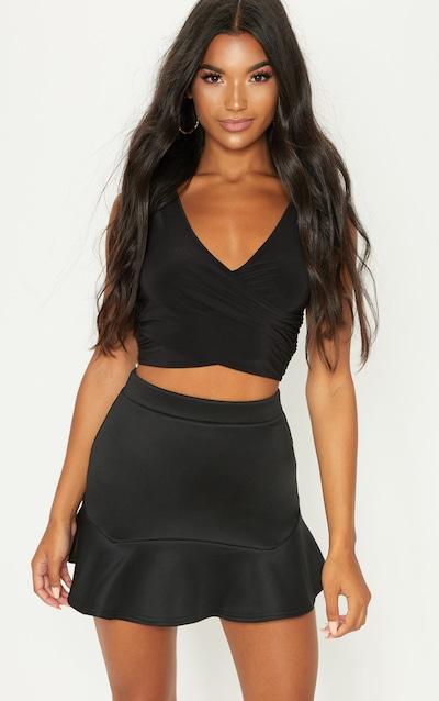 Verity Black Flippy Hem Mini Skirt