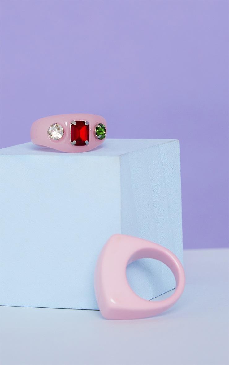 Pink Resin Mixed Jewel Ring 3