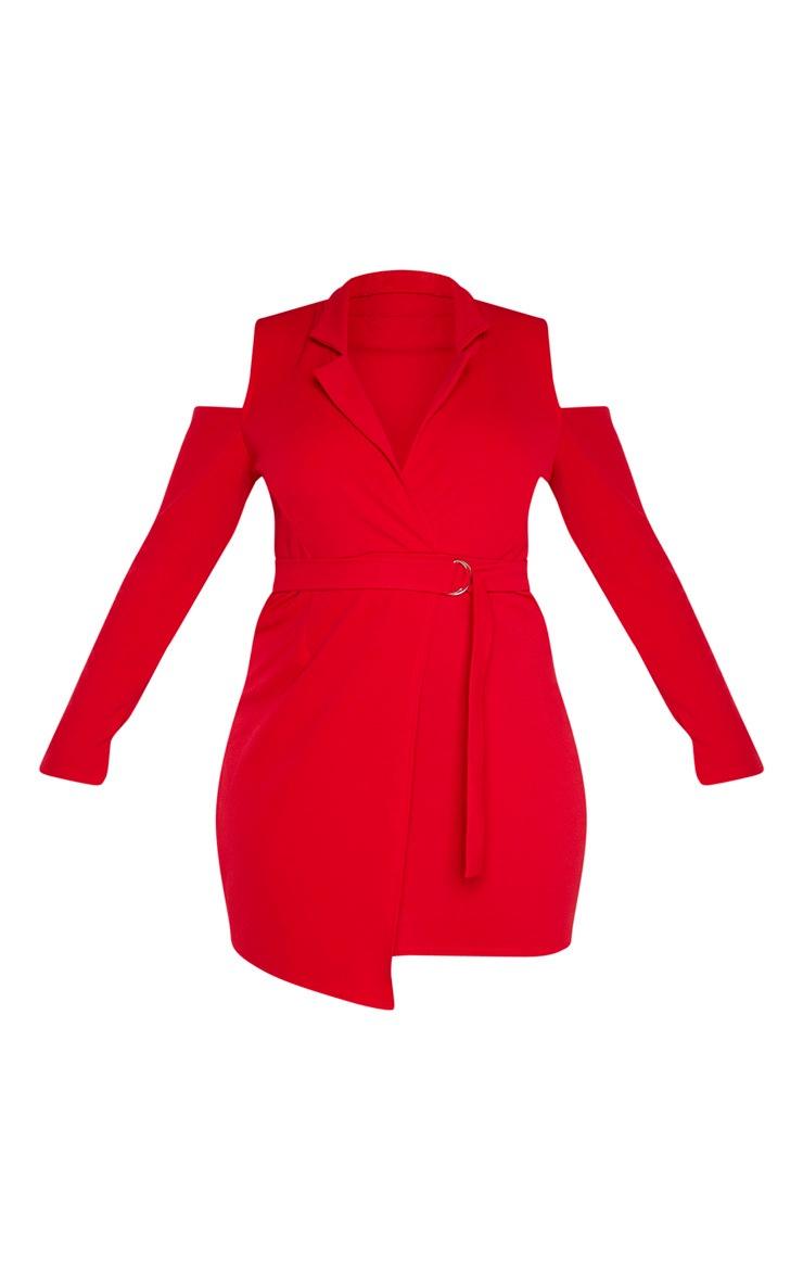 Plus Red Cold Shoulder Ring Detail Blazer Dress  3