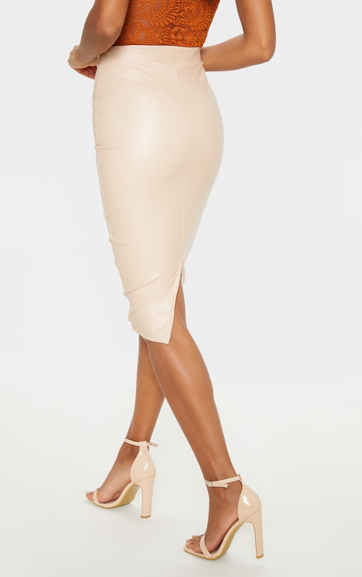 Eva Nude Faux Leather Panel Midi Skirt 4