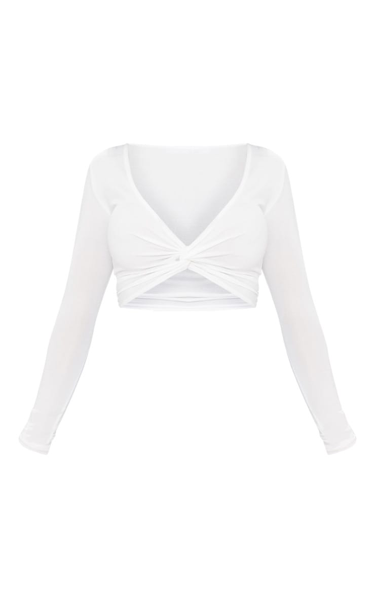 Shape White Slinky Twist Front Crop Top 3