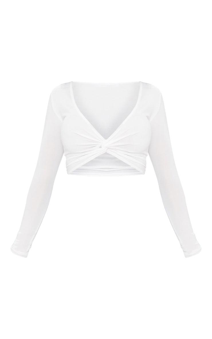 Shape White Slinky Twist Front Crop Top 1