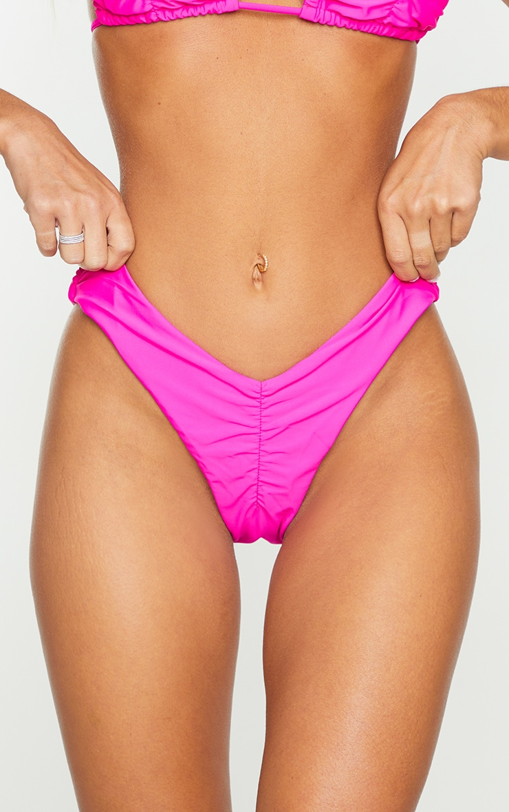 Hot Pink Ruched Front & Back Bikini Bottoms 4