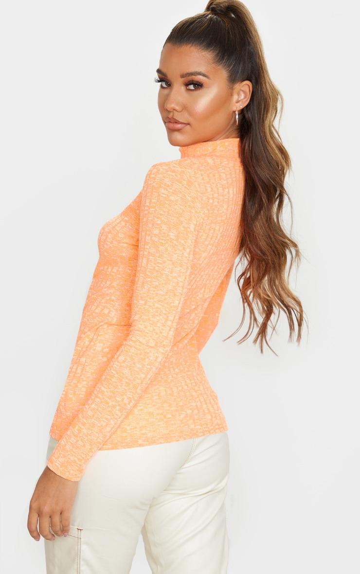 Orange High Neck Long Sleeve Top 3