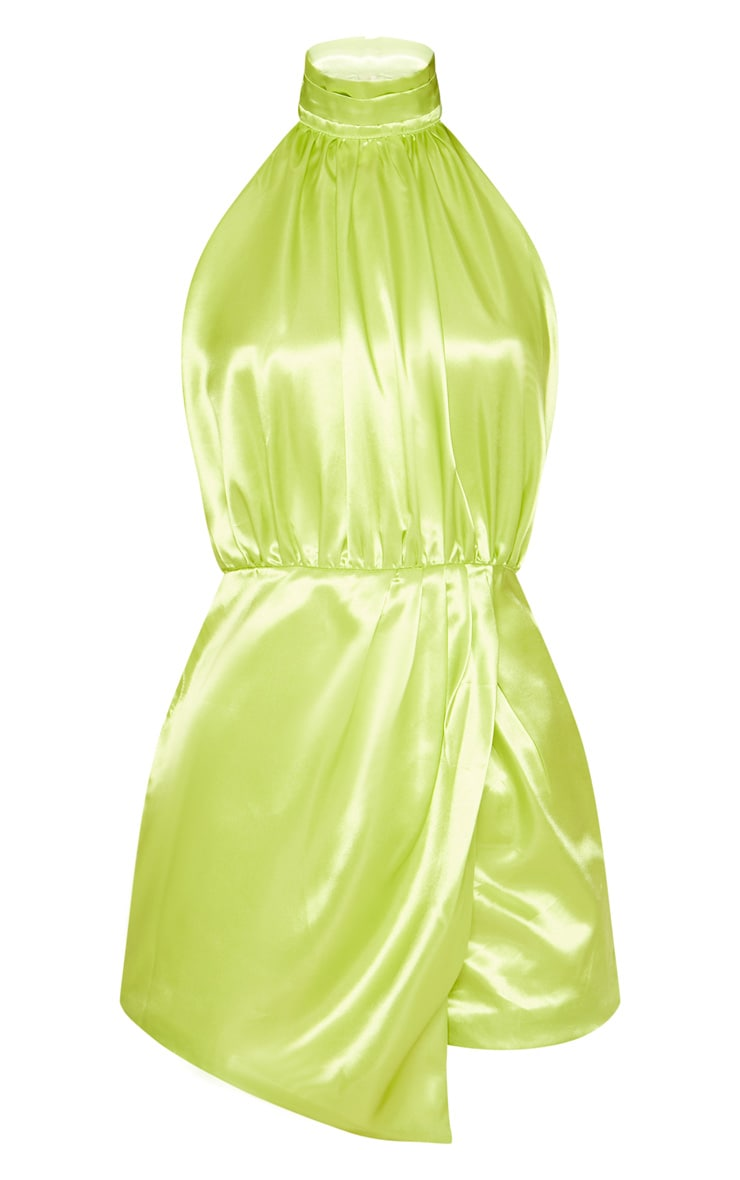 Neon Lime Satin Halterneck Wrap Detail Playsuit 3