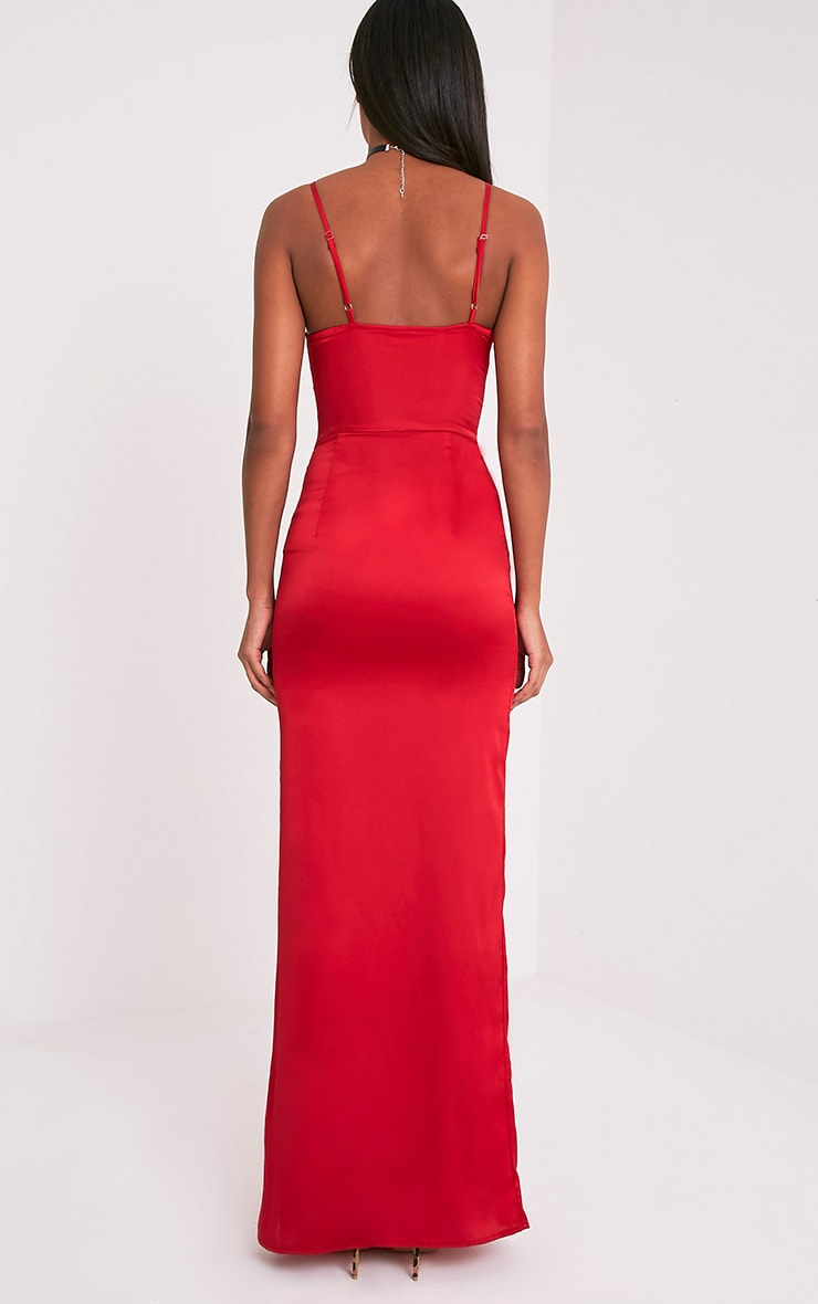 Kiria Red Lace Up Satin Maxi Dress 3