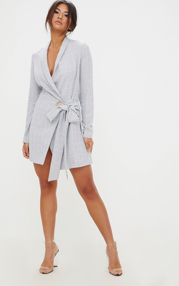 Grey Checked Blazer Dress 4